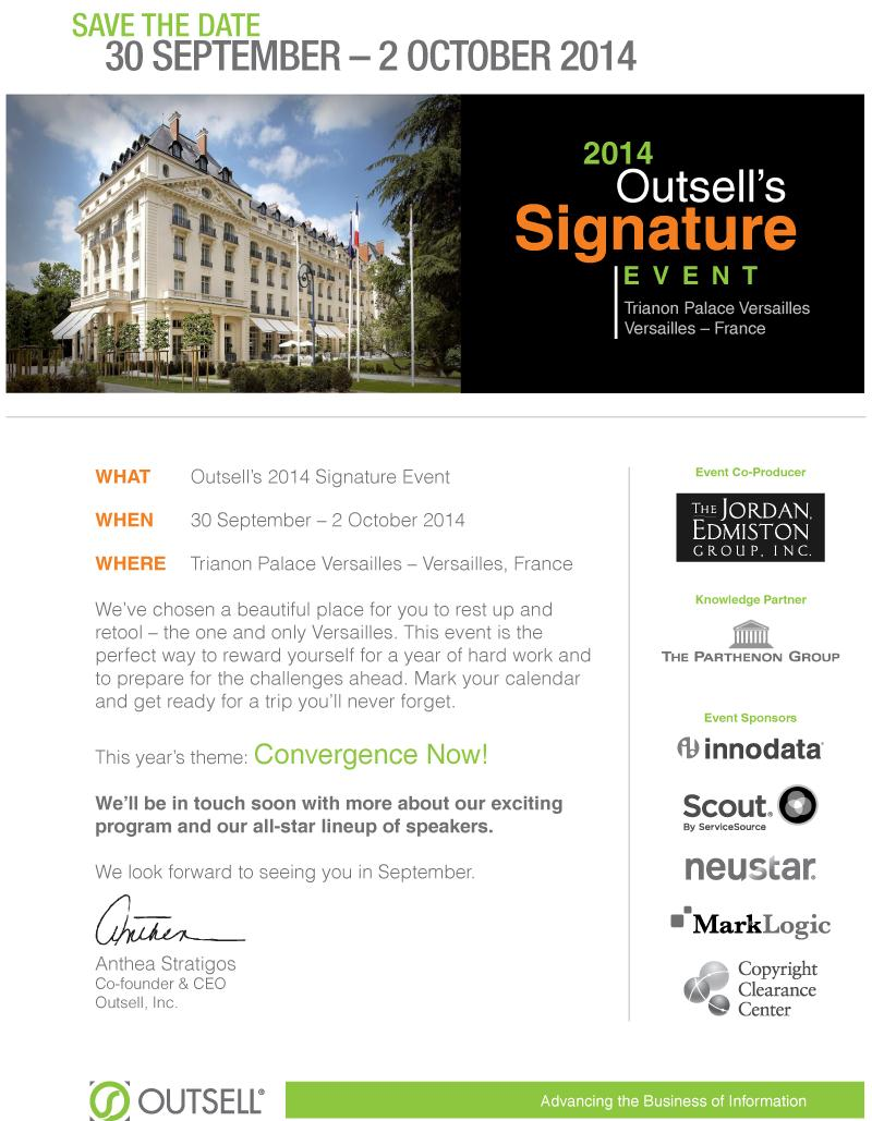 Outsell Sign Event 2014 Paris