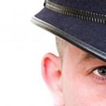 british policeman close up woth copyspace