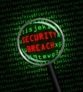 """Red """"SECURITY BREACH"""" revealed in green computer code through a"""