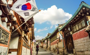 Street view S Korea with flag