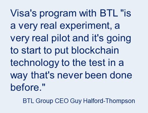 Visa testing Blockchain quote