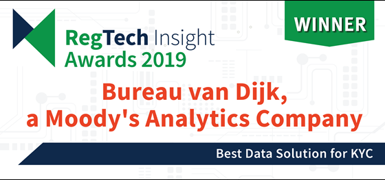 Bureau van Dijk Named Best Data Solution for KYC
