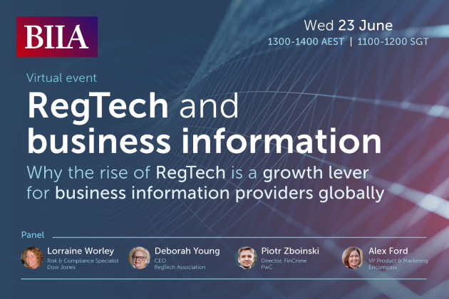 Invitation to Attend the BIIA RegTech and Business Information Webinar