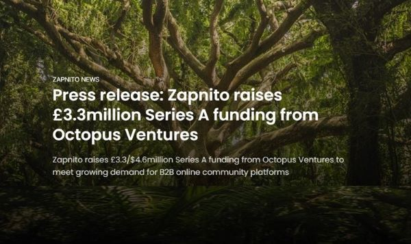 Zapnito Raises Pound Sterling 3.3 Million in a Series A Funding Round