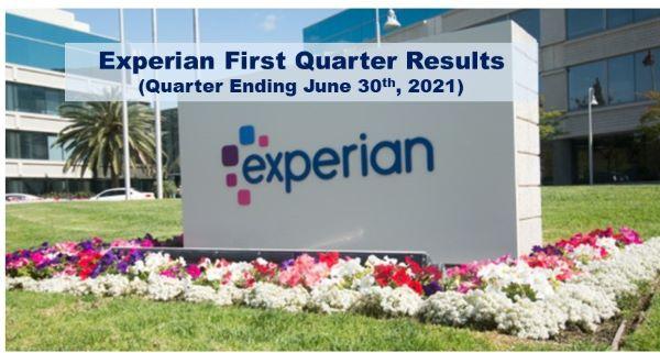 Experian Q1 Revenue Up 28% (Quarter Ending June 30th 2021)